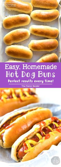 Easy Homemade Hot Dog Buns – The Flavor Bender These Easy to make Homemade Hot Dog Buns, are perfectly soft and delicious! This dough is versatile enough to be hot dog buns, subs, or hamburger buns, and absolutely easy to make! Dog Recipes, Bread Recipes, Cooking Recipes, Fish Recipes, Icing Recipes, Burger Recipes, Shrimp Recipes, Easy Cooking, Pizza Recipes