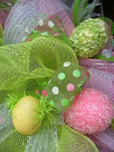 Deco Mesh EASTER WREATH.