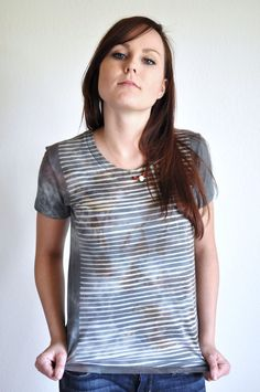 Your place to buy and sell all things handmade Organic Cotton T Shirts, My T Shirt, Stripe Print, Ikat, American Apparel, Printing On Fabric, Diys, Blood, Tie Dye