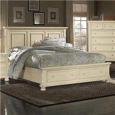 Vaughan Bassett Reflections King Storage Bed With Mansion