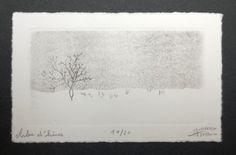 Arbre d'hiver, parce que c'est un arbre en hiver... :) Cest le même paysage que ma gravure Larbre de droite, mais en hiver. Technique : eau-forte
