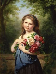 The Flower Gatherer by Fritz Zuber-buhler Handmade oil painting reproduction on canvas for sale,We can offer Framed art,Wall Art,Gallery Wrap and Stretched Canvas,Choose from multiple sizes and frames at discount price. Beaux Arts Paris, Amazing Paintings, Painting Of Girl, Victorian Art, Oil Painting Reproductions, Fine Art, Banksy, Portrait, Art Boards