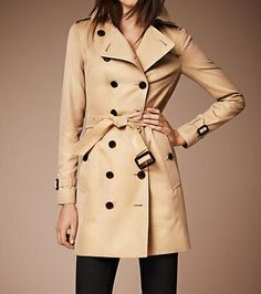 Classic Burberry trench coat    Burberry  The Sandringham-Mid-Length Heritage Trench Coat in Honey $1,595  available at us.burberry.com