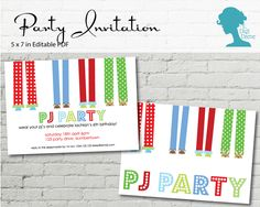 Boy's Pyjama/Pajama Party Invitation $10AUD by The Digi Dame Printable Party Decor thedigidame.com