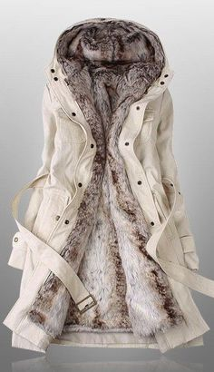 How pretty coat ! I like it so much. Detachable Plush Liner Thick Cotton Windbreaker Jacket Coat #coat #plush #jacket #women #nice