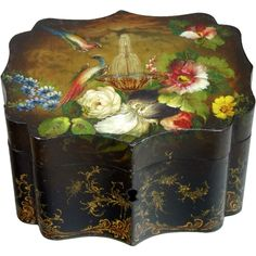 English Regency Toleware Tea Caddy Exquisitely Hand Painted