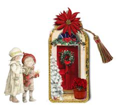 """""""Christmas Bookmark"""" by sjlew ❤ liked on Polyvore featuring art"""