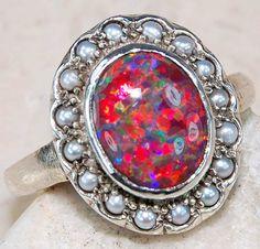 Red australian fire opal with perls - art noveau