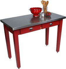 John Boos MIL Cucina Americana Milano Prep Table in Barn Red Size: 60x30x36 by John Boos. $1519.00. John Boos MIL The Cucina Palazzo Prep Table blends professional stainless steel with a country red base. Since 1887, John Boos & Co. has proudly offered fine butcher blocks, cutting boards, kitchen workstations and carts, and other food preparation products. Generations of professionals have used them in restaurants, commercial and institutional foodservice, government and educati...