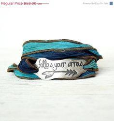 SALE SALE Silk Wrap Bracelet, Eco-friendly, Hippie, Boho Chic, Tie Dye, Wrap Bracelet, Follow your Arrow, $41.60