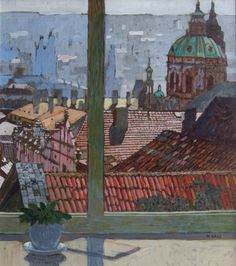 View of Prague, Noon by Mike Hall from Bell Fine Art, Winchester, Hampshire, UK