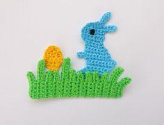 Crochet Applique Rabbit with Egg and Grass 1pcs. $5.00, via Etsy.