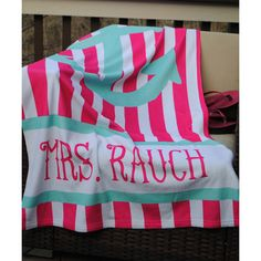 Swirl Designs Hot Pink & Aqua Anchor Beach Towel (42 AUD) ❤ liked on Polyvore featuring home, bed & bath, bath, beach towels, personalized beach towels and oversized beach towels