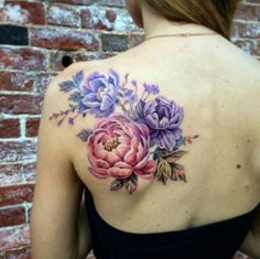 Colored peony back tattoo