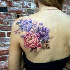 Colored peony back tattoo
