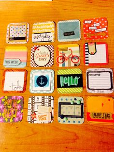 Handmade twinchies for Project Life, scrapbooking 2x2