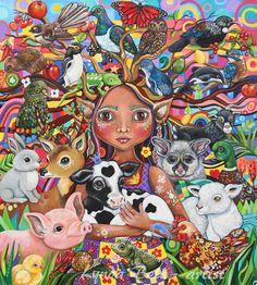 De voogd is losjes geïnspireerd door het sprookje teken: Sneeuwwitje en haar verbinding met dieren, The Guardian is een afbeelding van hoe ik wil voor alle mensen te gedragen-liefde, zorg voor en het koesteren van ieder levend schepsel. Voor dit schilderij ik concentreerde zich op een aantal van de dieren die in Nieuw-Zeeland – die zijn gekweekt leven, gegeten, gejaagd en ook degenen die zijn gewaardeerd en beschermd. Mij hebben ze allemaal het leven waard koesteren en ze hebben allemaal een…