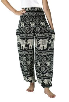 Black Elephant pants Harem Pants Yoga pants Hippie Pants by NaLuck