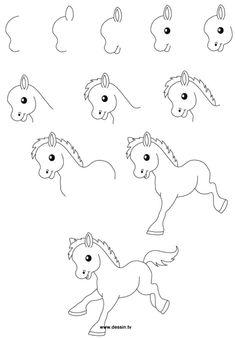 Cute easy animal drawings, animal sketches easy, art sketches, cartoon drawing for kids Cute Easy Animal Drawings, Animal Sketches Easy, Easy Drawings For Kids, Drawing For Kids, Cute Drawings, Art Sketches, Drawing Ideas, Learn Drawing, Horse Drawings