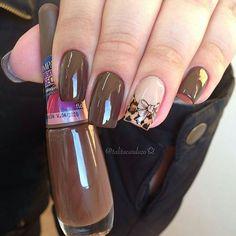 Dark brown with one nail design nail art