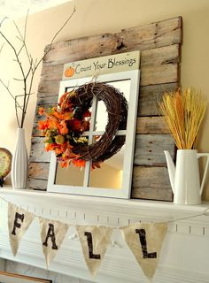 fall mantel with reclaimed pallet wood, doors, seasonal holiday decor, Fall mantel with reclaimed wood from pallet #fall #falldecor #fallmantle #mantle