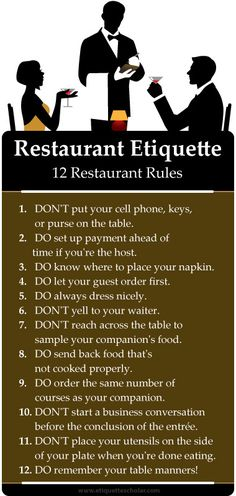 Tips: 12 Restaurant Dos and Don'ts - Great dining etiquette tips for eating in a nice restaurant! Lots of dining etiquette pages covering everything! Dinning Etiquette, Table Setting Etiquette, Setting Table, Table Settings, Table Manners, Good Manners, Manners For Kids, Comment Dresser Une Table, Etiquette And Manners