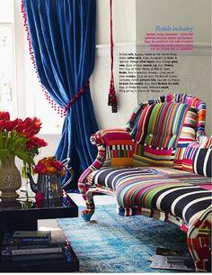Cobalt Blue Velvet Curtains with Magenta Pink PomPom Trim
