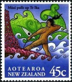 Sello: Mauisaurus (Nueva Zelanda) (Maori Myths) Mi:NZ 1354,Sg:NZ 1807