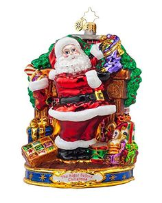 Christopher Radko Glass Straight to Work Santa Christmas Ornament