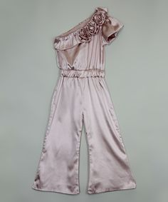 Look at this Almond Satin One-Shoulder Jumpsuit - Toddler & Girls on #zulily today!