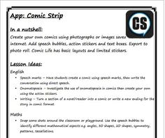 Lesson ideas for using Comic Strip app (which truly could be app-lied to any comic creation app): ictwithmissc. Teaching Technology, Educational Technology, Create Your Own Comic, Comic Boards, Ipods, Instructional Technology, Digital Storytelling, Figurative Language, Language Activities