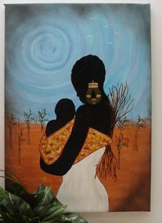 African mother Painting by Denise Cummings African Art Paintings, African Artwork, Mother Painting, Mother Art, Black Artwork, Afro Art, African American Art, Black Artists, Black Women Art