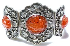 CHINESE EXPORT CHINA STERLING SILVER CARVED CARNELIAN BIRD FLOWER SIGN BRACELET