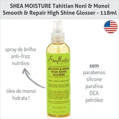 Spray de brilho/anti-frizz da marca SHEA MOISTURE. Totalmente natural, não pesa e pode ser usado com o cabelo molhado como hidratante. Vende online e em supermercados do EUA como Target e WholeFoods. Preço Médio: US$ 10. #cosmeticdetox
