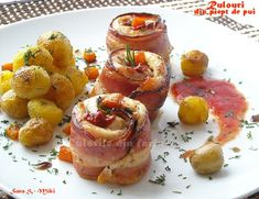 Chicken rolls wrapped in bacon ~ colors of plate Diet Recipes, Cake Recipes, Cooking Recipes, Healthy Recipes, Bacon, Romanian Food, Partys, Weight Watchers Diet, What To Cook