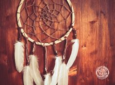 Dream Catcher  Under the Leaves  With Raw Wooden Frame by bohonest