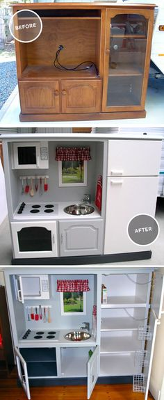 Gender Neutral DIY play kitchen made from an up-cycled entertainment system. I'd add the silver easy bake oven and a kids size chore set!