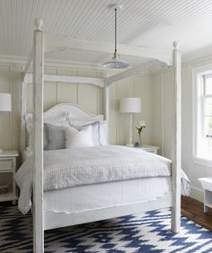 White Furniture Blue Chevron Rug Four Poster Beadboard Ceiling Muskoka Living Interiors
