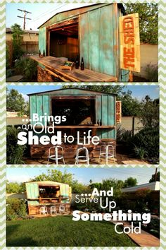 Shed Plans - Bring an old shed to life by turning it into an outside backyard bar - Now You Can Build ANY Shed In A Weekend Even If You've Zero Woodworking Experience! Backyard Bar, Backyard Sheds, Outdoor Sheds, Backyard Retreat, Outdoor Life, Outdoor Living, Outdoor Stuff, Outdoor Fun, Party Shed