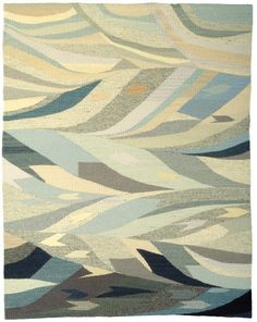 Neptune, Handwoven Tapestry by Rachel Brown, Hand-dyed Wool, 46″x36.5″, 1998