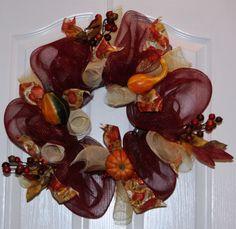 Burgundy & Gold Deco Mesh Fall Wreath