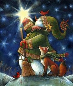 Christmas art, snowman art by renowned painter Janet Stever. Christmas Clipart, Christmas Printables, Christmas Pictures, Christmas Snowman, Winter Christmas, All Things Christmas, Vintage Christmas, Christmas Holidays, Christmas Crafts