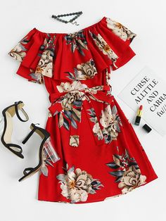 Floral Print Layered A Line Dress With Belt Mobile Site