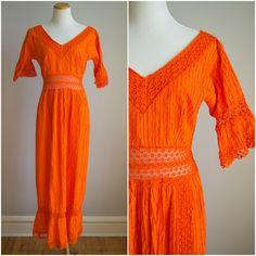 vintage 1970s dress / 70s cotton crochet by HungryHeartVintage, $72.00