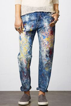10 Brand-Spankin' New Denim Trends #refinery29 http://www.refinery29.com/denim-trends#slide24  Painted on denim