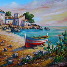 Artist Painting, House Painting, Greek Paintings, Relaxing Art, Art Drawings Beautiful, Boat Art, Art Pictures, Beautiful Pictures, Scenery