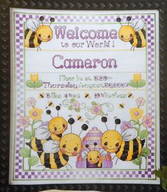 Donna Vermillion Giampa BEE BIRTH SAMPLER Baby Boy Stitchery - Counted Cross Stitch Pattern Chart - fam. $6.75, via Etsy.