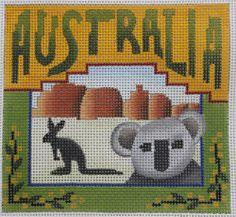 Denise DeRusha Designs Australia Hand Painted Needlepoint Canvas 18 count