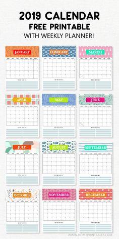 Calendar printables - 2019 Calendar Printable with Weekly Planner Super Cute Freebie! Calendar 2019 Printable, Monthly Planner Printable, Weekly Calendar, Kids Calendar, 2019 Calendar, Printable Budget, Calendar Design, Budget Templates, Jewish Calendar