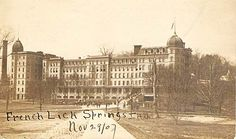This photo postcard dated November 29, 1907 shows front and main entrance to the French Lick Springs Hotel.
